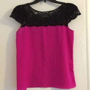 Express XS Pink with Black Lace short sleeve shirt